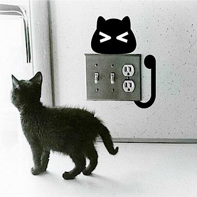 半島良品 DIY無痕壁貼-小黑貓開關貼(10款) KG3002 30x45cm