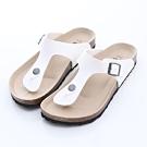 ZUCCA-經典釦飾夾腳休閒拖鞋-白-z6623we