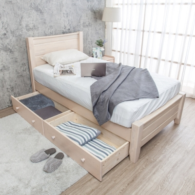 Boden-伊莫3.5尺單人全實木床架-抽屜型(不含床墊)