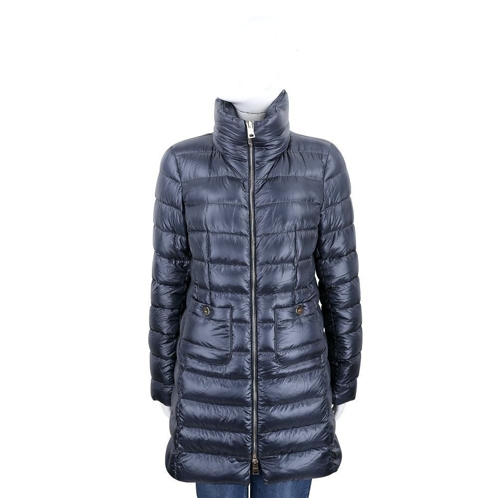 HERNO 灰藍色長版立領車縫線拉鍊羽絨外套