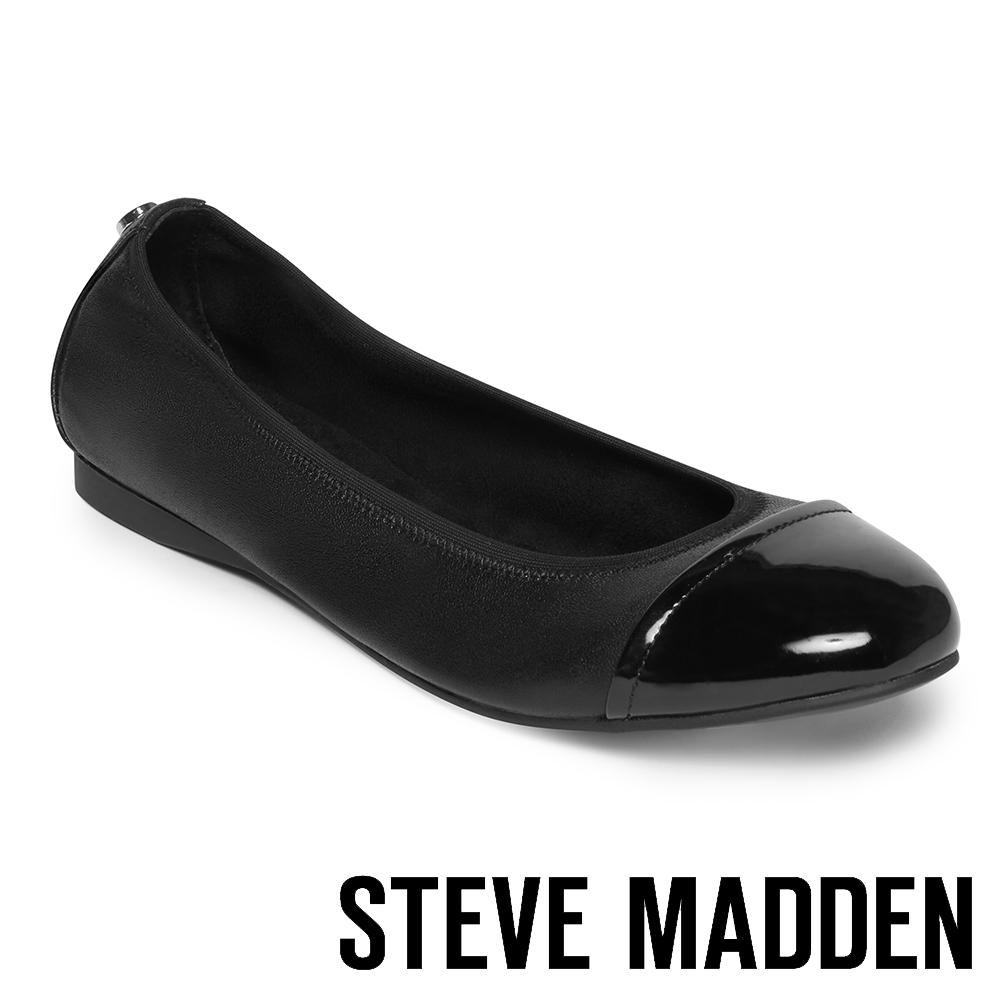 STEVE MADDEN-BABETTE撞色圓頭平底鞋-黑色