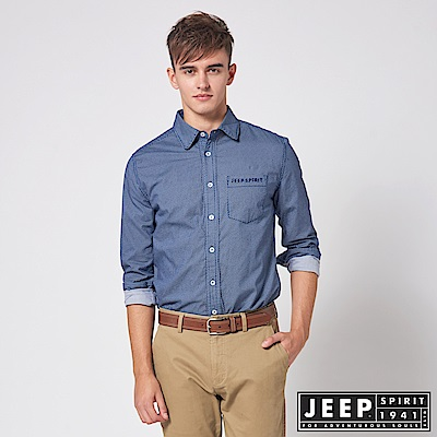 JEEP 滿版幾何圖形印花長袖襯衫 -藍色