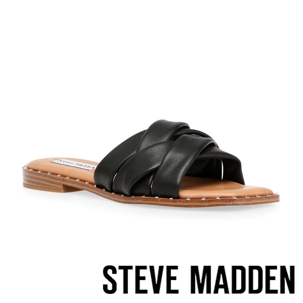 STEVE MADDEN-TERRON 舒適皮質交叉帶涼拖鞋-黑色
