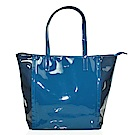 agnes b.素面直立拉鍊PVC手提肩背包(大/藍)