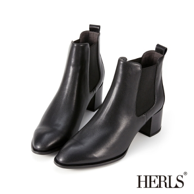 HERLS短靴-全真皮素面尖頭鬆緊切爾西粗跟短靴-黑色