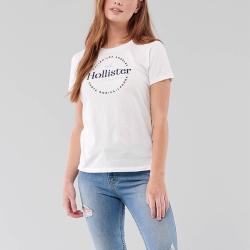 海鷗 Hollister HCO 經典印刷文字大海鷗短袖T恤(女)-白色