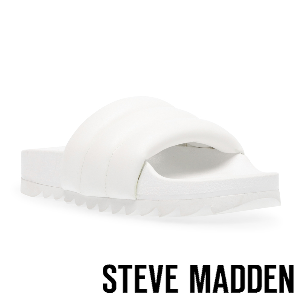 STEVE MADDEN-CUSHY 素面澎澎平底拖鞋-白色
