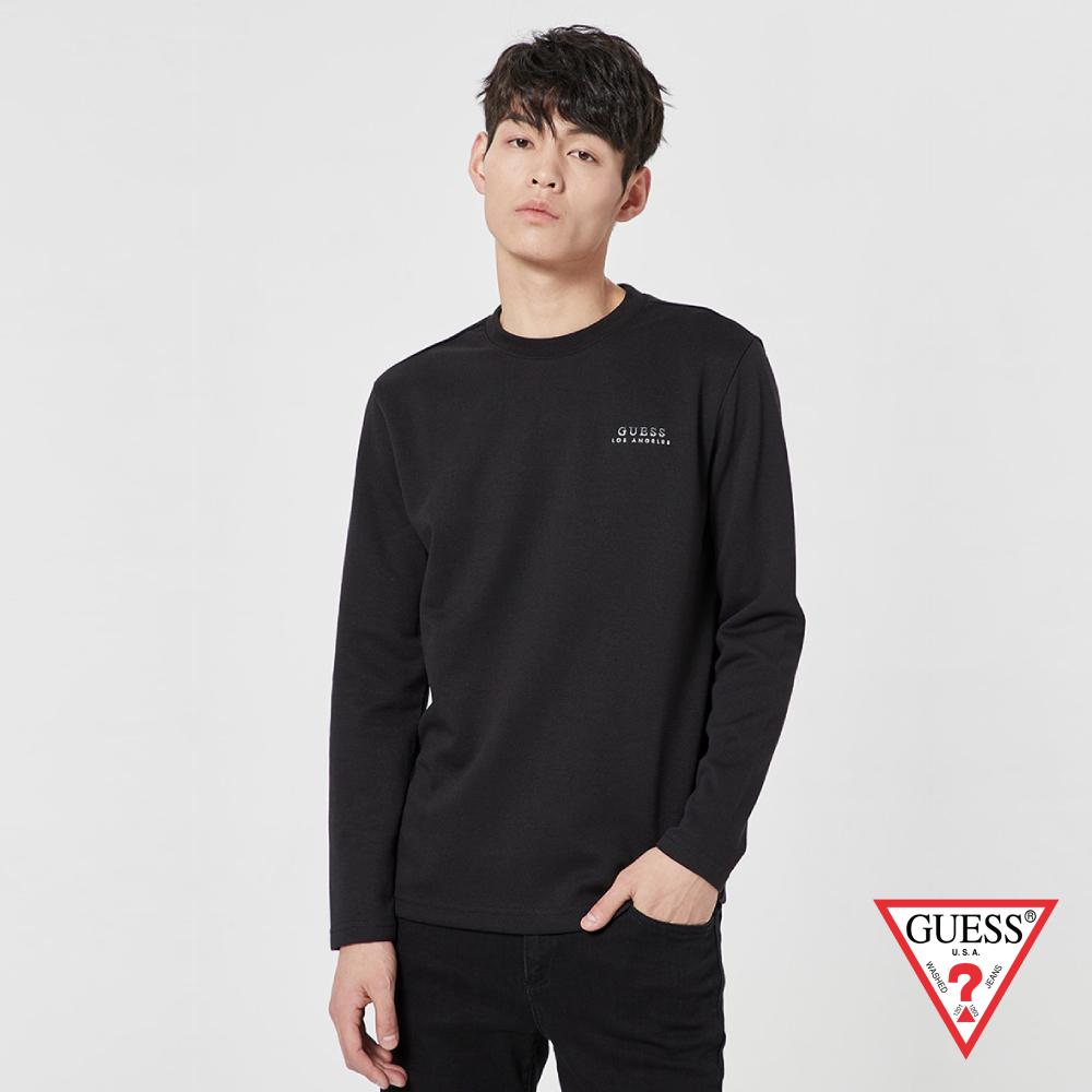 GUESS-男裝-雙色刺繡LOGO長袖上衣-黑 原價2990