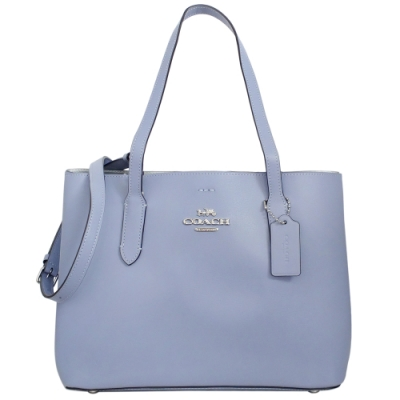COACH AVENUE淺紫藍全皮雙層肩背/斜背托特包