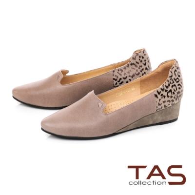 TAS素面羊皮拼接豹紋楔型娃娃鞋-俏皮灰