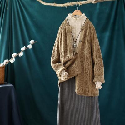 素色螺紋圓領針織開衫寬鬆中長版長袖毛衣外套-設計所在