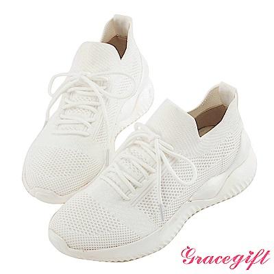 Grace gift-綁帶織布運動休閒鞋 白
