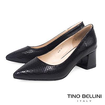 Tino Bellini 真皮立體神祕蛇紋尖頭中跟鞋 _ 黑