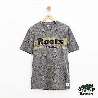 男裝Roots 迷彩短袖T恤-灰