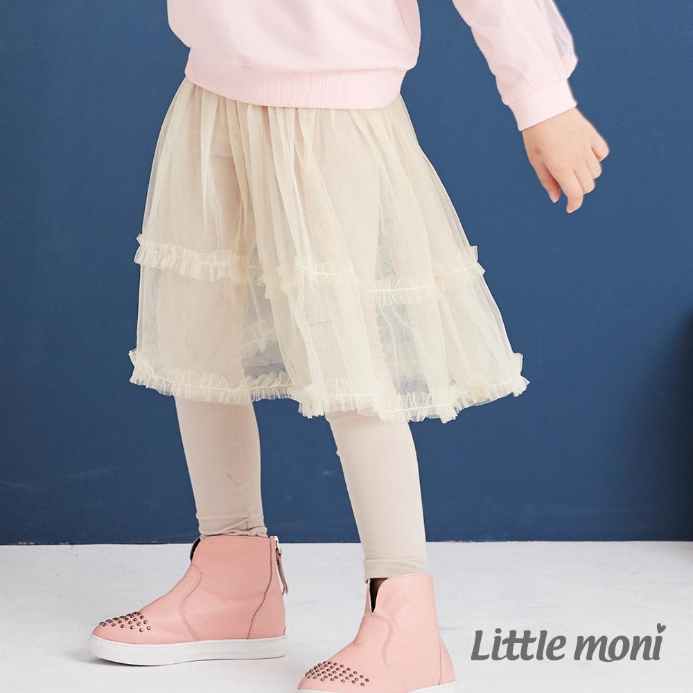 Little moni 假兩件網紗蓬裙(兩色可選)