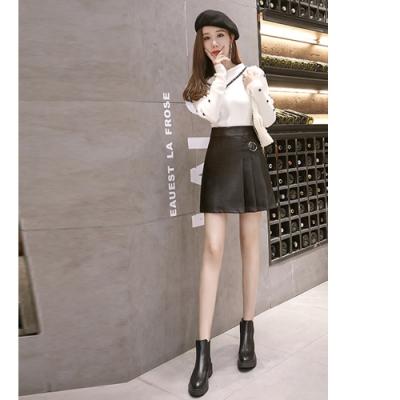 2F韓衣-韓系半百摺造型皮裙-黑S