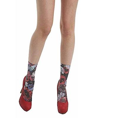 摩達客 英國進口義大利製Pamela Mann 浪漫紅罌粟花圖紋短襪腳踝襪