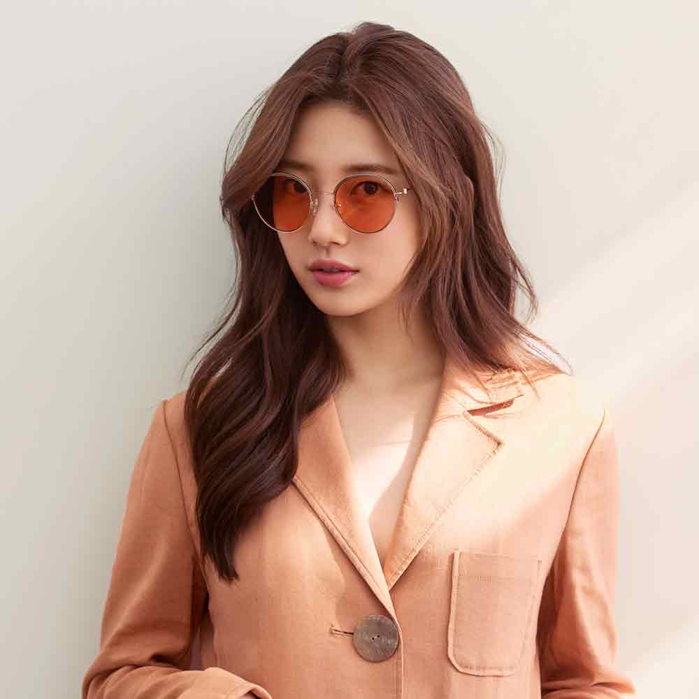 CARIN太陽眼鏡 秀智代言 簡約圓框款/金-橘 #DEBBIE C2
