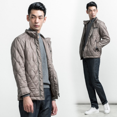 per-pcs 品味菱格修身立領鋪棉外套_可可色(640401-05)