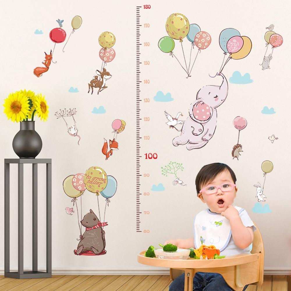 半島良品 DIY北歐風無痕壁貼 SK9275-卡通氣球動物身高貼 60X90