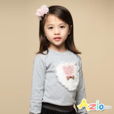 Azio Kids 女童 上衣 愛心蕾絲玫瑰花長袖上衣T恤(灰)