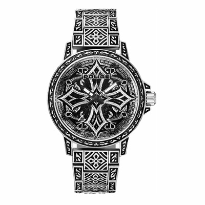 POLICE 街頭教主十字造型腕錶-銀(15530CRS-SET3)-45mm