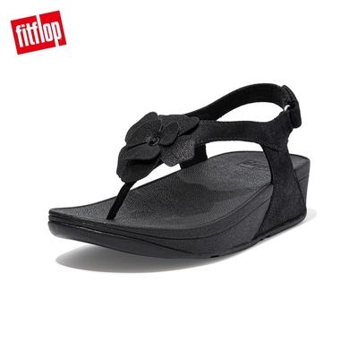 FitFlop LULU CORSAGE TOE-POST BACK-STRAP SANDALS麂皮花朵後帶涼鞋-女(靓黑色)