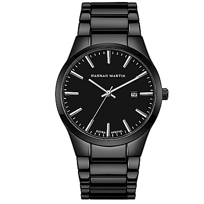 HANNAH MARTIN 午夜迷情立體刻度不鏽鋼腕錶-黑x38mm(HM1756-YH)