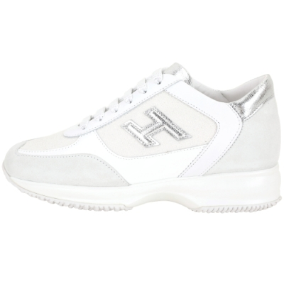 HOGAN Interactive H 冰裂紋拼接繫帶休閒鞋(白色)