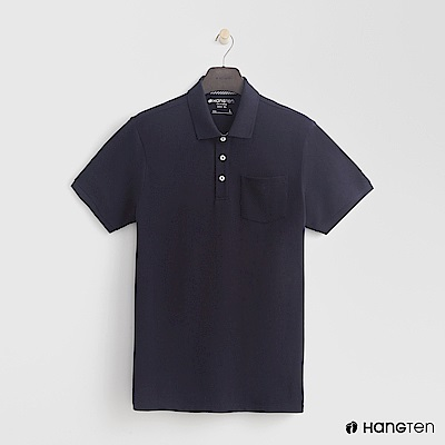 Hang Ten - 男裝 - 素面口袋POLO衫 - 藍