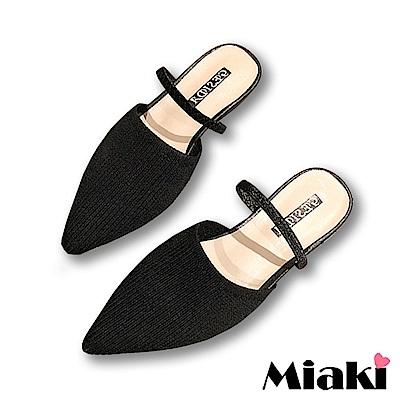 Miaki-穆勒鞋針織細帶低跟尖頭鞋-黑