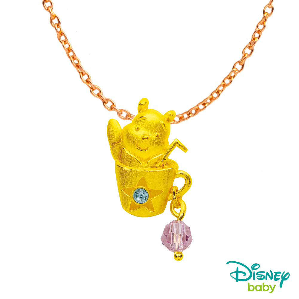 Disney迪士尼系列金飾 黃金/水晶墜子-笑嘻嘻維尼款 送項鍊