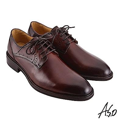 A.S.O職場通勤 職人通勤刷色工藝德比紳士鞋-咖啡