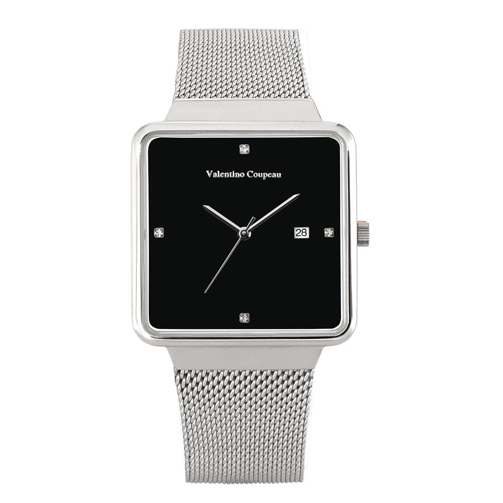 Valentino Coupeau 范倫鐵諾 古柏 輕巧極簡設計腕錶【銀色/米蘭/黑珠】