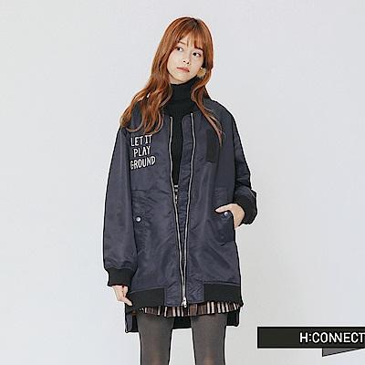 H:CONNECT 韓國品牌 女裝-貼布文字長版飛行外套-藍