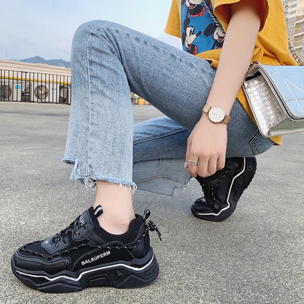 LN 韓版線條休閒厚底老爹鞋-2色 @ Y!購物