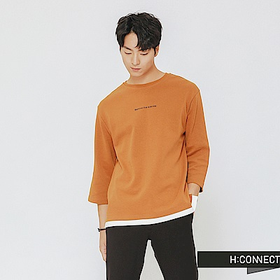 H:CONNECT 韓國品牌 男裝-下擺拼接復古圖像上衣-黃