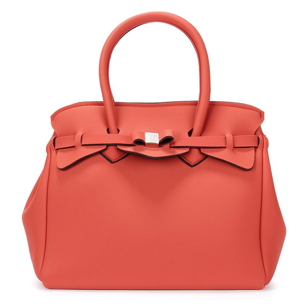 SAVE MY BAG Miss系列簡約輕量防水托特包-磚紅色