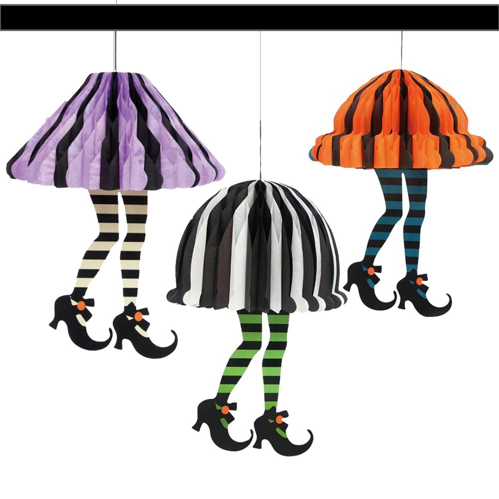 摩達客 萬聖節派對-時尚蜂窩式立體裙子紙燈籠吊飾三入組(紫黑+綠黑+橘黑)