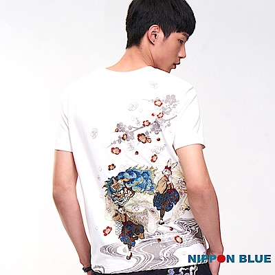 日本藍 BLUE WAY 【進口金標】雪兔舞獅短TEE(白)