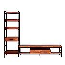 D&T德泰傢俱格萊斯積層木工業風中抽展示架+6尺電視櫃-240.8x44.9x196cm