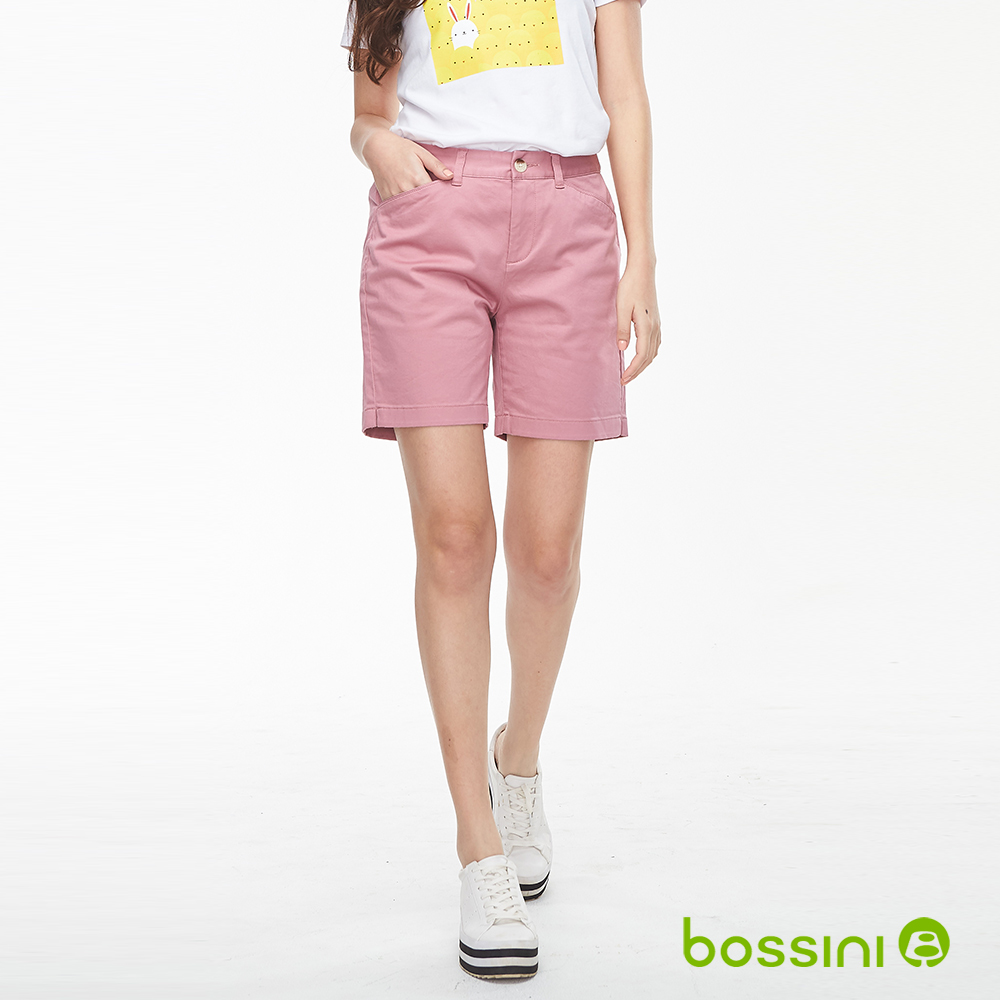 bossini女裝-素色卡其短褲01粉