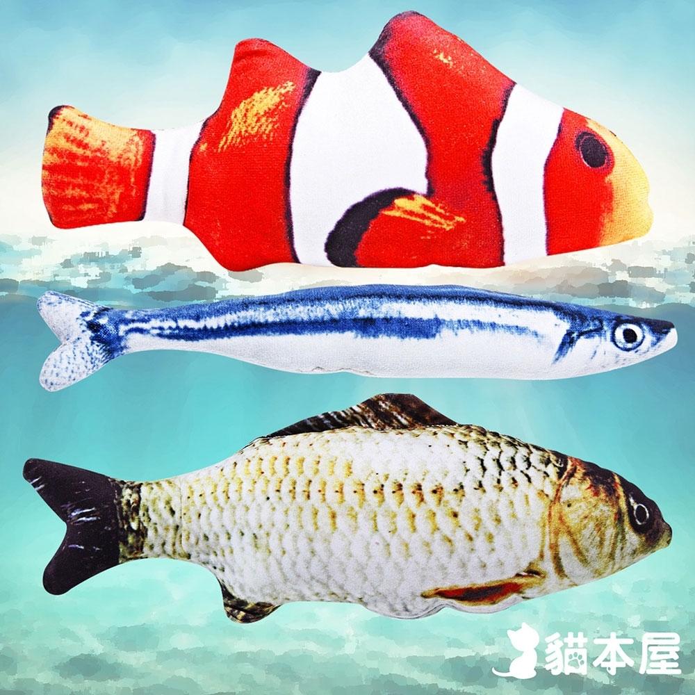 貓本屋 仿真魚 寵物絨毛玩具3入(小丑魚+鯽魚+秋刀魚)