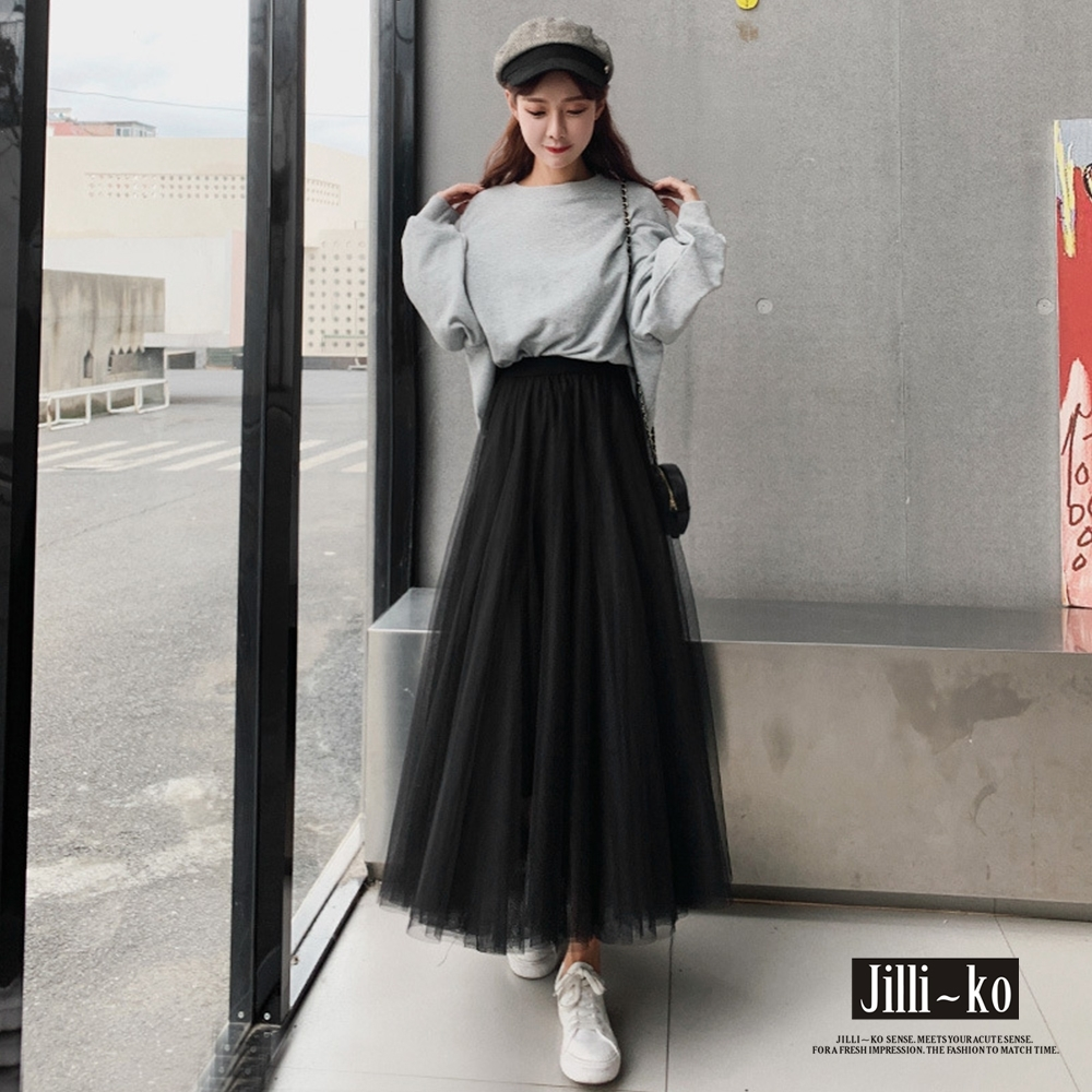 JILLI-KO 氣質百褶網紗長裙- 黑色 (黑色系)