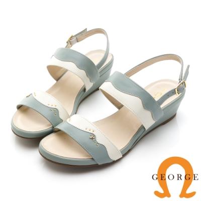 GEORGE 喬治皮鞋 俏麗雙色一字帶真皮楔型涼鞋-綠色