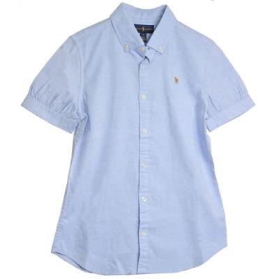 POLO Ralph Lauren 品牌LOGO馬球刺繡棉質短袖襯衫(淺藍)