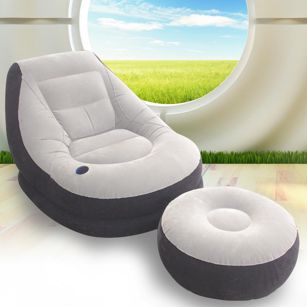 豪華頭等艙單人充氣沙發附腳椅