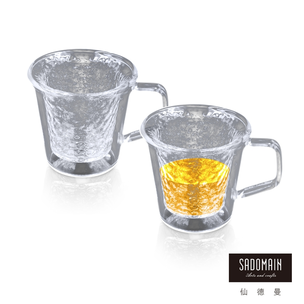 仙德曼SADOMAIN 雙層玻璃錘紋茶杯-2入組(100ml)