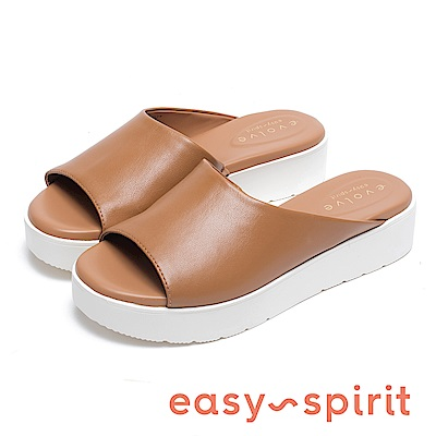 Easy Spirit FLORA 輕量素色皮革厚底拖鞋-棕色