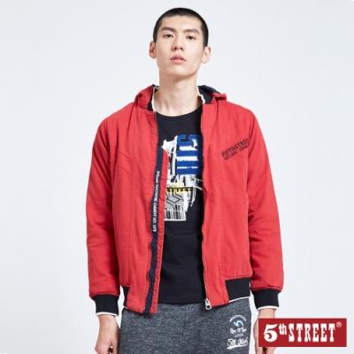 5th STREET 剪接可拆帽 鋪棉外套/夾克-男-朱紅色
